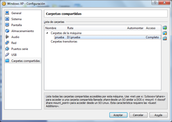 Carpeta compartida en VirtualBox.